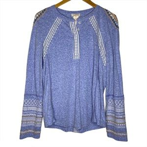 Sundance Beaded Embroidered Blue Henley  Top tee S